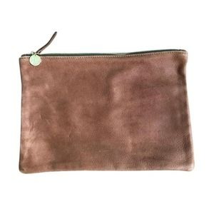 CLARE VIVIER Brown Fold Over Leather Clutch